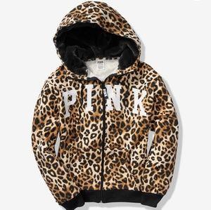 NEW VS PINK L Leopard Fur Zip Hoodie